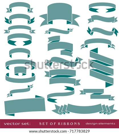 Flat vector set of vintage ribbons, retro banners, isolated elements on white background for design  #717783829