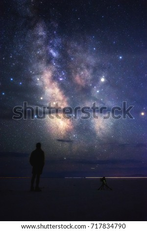 Milky Way at Bonneville Salt Flat. #717834790
