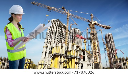 female worker examines drawing on background with many tall buildings under construction and cranes under blue sky, collage #717878026