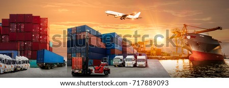 Logistics and transportation of Container Cargo ship and Cargo plane with working crane bridge in shipyard at sunrise, logistic import export and transport industry background #717889093
