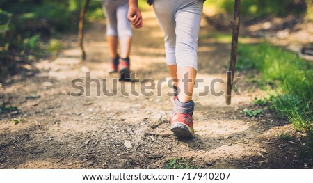 Children hiking in mountains or forest with sport hiking shoes. Girls or boys are walking trough forest path wearing mountain boots and walking sticks. Frog perspective with focus on the shoes. #717940207