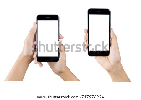 Woman hand holding smartphone isolated on white background.  #717976924