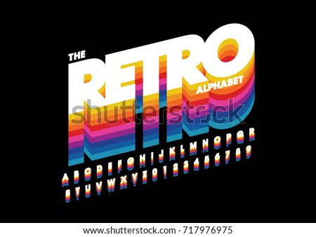 Vector of retro bold font and alphabet Royalty-Free Stock Photo #717976975
