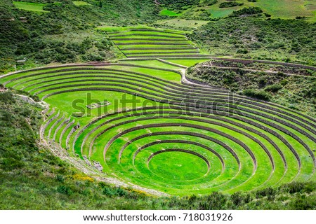 Agricultural terraces in  the Sacred Valley. Moray in Cuzco, Sacred Valley, Peru #718031926