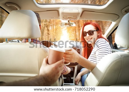 Autumn road and two lovers in car  #718052290
