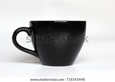 Black color coffee mug on white background #718143448