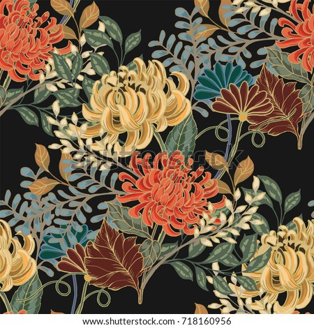 Abstract elegance seamless pattern with floral background.  #718160956