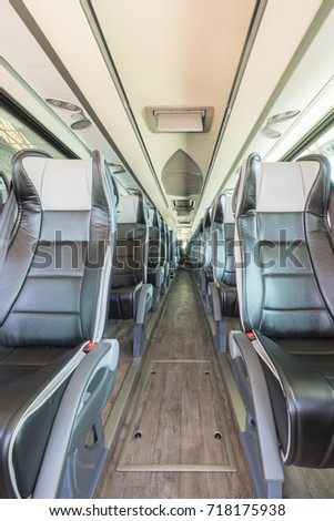 Interior view in detail of luxury bus #718175938
