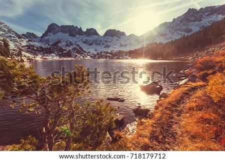 Scenic view of Sierra Nevada Mountain. fall foliage landscape. California,USA. #718179712