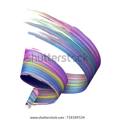 3d render, abstract brush stroke, paint splash, smear, splatter, colorful curl, artistic spiral, vivid ribbon, tape, clip art isolated on white background