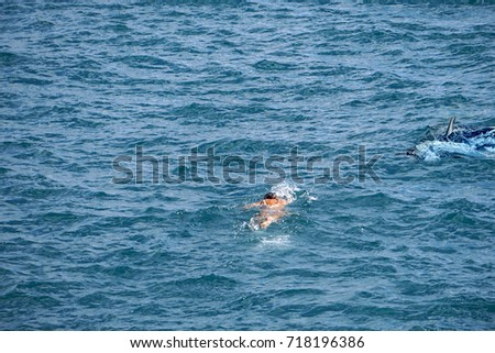 Great white shark ready to attack a girl while swimming #718196386