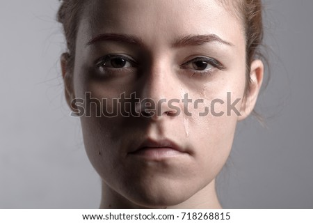 Portrait of a Redhead Crying Woman #718268815