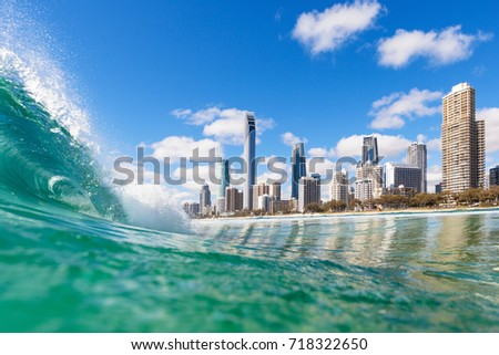 View from the water of Surfers Paradise on the Gold Coast, Australia Royalty-Free Stock Photo #718322650