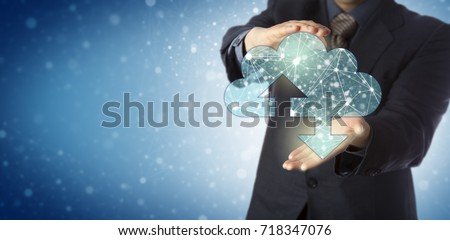 Unrecognizable business services manager presenting a virtual cloud containing a web of interconnected nodes. IT concept for cloud computing, computer network, deep web and infinite cyberspace. #718347076