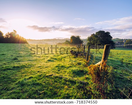 Early Autumn countryside morning,Northern Ireland Royalty-Free Stock Photo #718374550