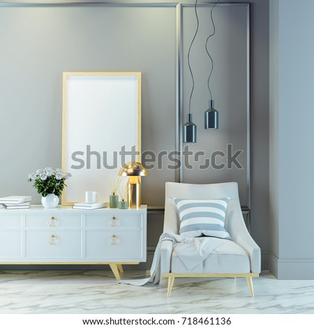 Luxury modern living room  interior ,white  lounge chair with gold lamp and white sideboard on mable floor ,frame mockup /3d render #718461136