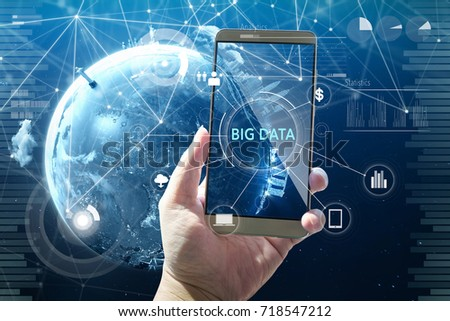 "Man using digital device with ""BIG DATA"" word on digital virtual screen . Hi-tech business concept . #718547212"