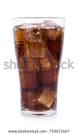 Cola in glass with ice cubes on white background #718611667