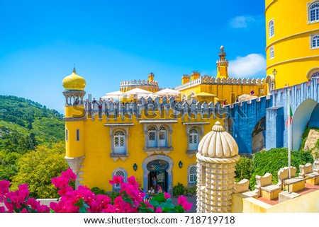 Beautiful historic architecture of Pena Palace, in Sintra village of Portugal #718719718