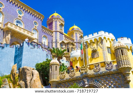 Beautiful architecture of Pena Palace, in Sintra, Portugal #718719727