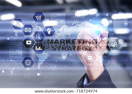 Marketing strategy concept on virtual screen. Internet, advertising and digital technology concept. Sales growth. #718724974