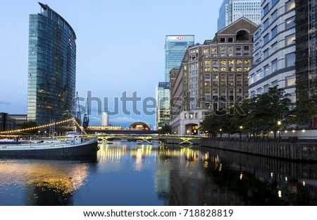 London, UK - August 14, 2017: Canary Wharf financial district #718828819