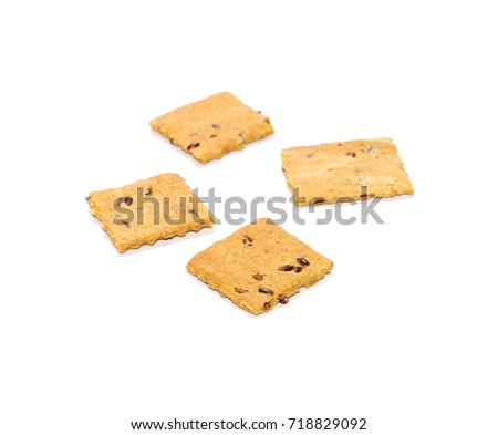 Wholewheat grain snacks with flax seed, sliced isolated on white background #718829092