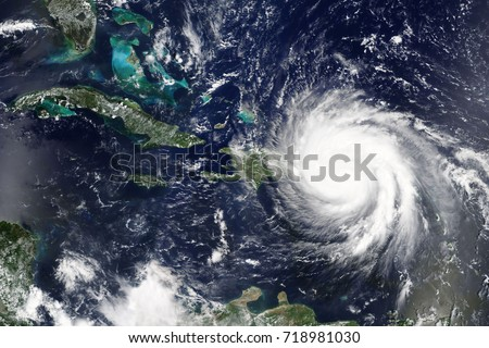 Hurricane Maria makes landfall in Puerto Rica in September 2017 - Elements of this image furnished by NASA #718981030
