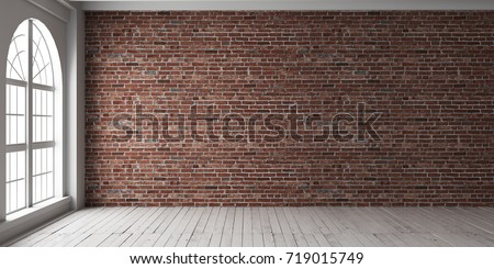 Empty room with arched window and shiplap flooring. Brick wall in loft interior mockup. Studio or office blank space. #719015749