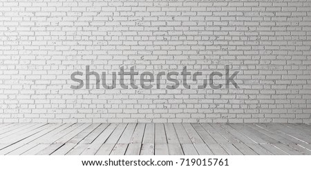 White empty place with wooden floors and brick wall. Mock up template for display or montage of product. Studio or office blank space. 3D render #719015761