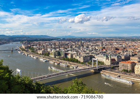 Panoramic view of Budapest and Danube river in a beautiful summer day #719086780