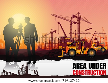 Illustration Tractor plowing a area for construction,construction vector background,Construction info graphics,Engineers inspecting construction site, Book Cover Design. #719137432
