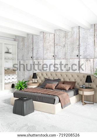 White bedroom minimal style Interior design with wood wall and grey sofa. 3D Rendering. #719208526