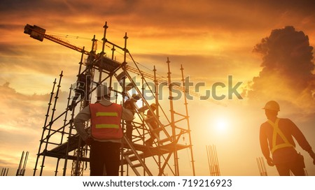Work safety function or civil engineer The team on the background of the construction site. #719216923