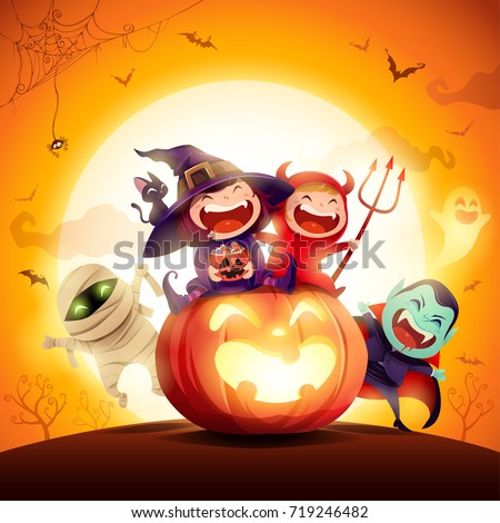 Halloween Kids Costume Party. Group of kids in halloween costume sitting on a giant pumpkin. In the moonlight. Orange background.