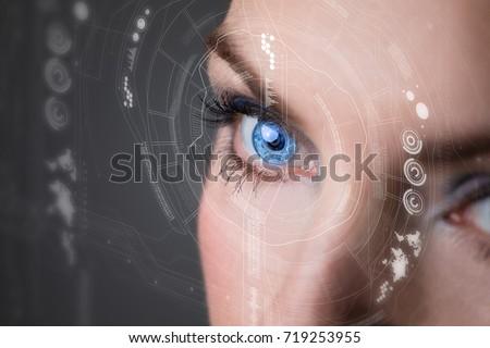 Iris recognition concept Smart contact lens. Mixed media. #719253955