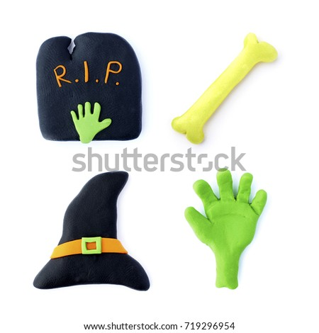 3d halloween set witch hat zombie arm tombstone bone design handmade clay isolated on a white background