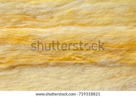 Mineral wool (or mineral fiber, mineral cotton, mineral fibre, glass wool, MMMF, MMVF) fiber thermal insulation close-up #719318821