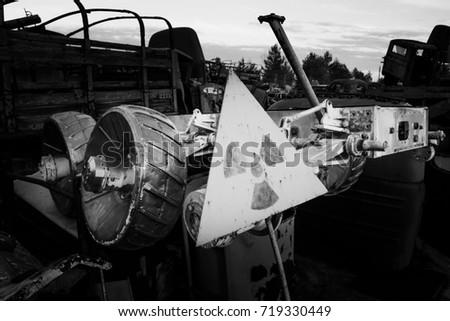 Chernobyl vehicle graveyard. Buryakovka. Exclusive capture of ex Soviet Lunokhod. Chernobyl accident. Chernobyl exclusion zone. Zone of high radioactivity.  Chernobyl Nuclear Power Plant near Pripyat. #719330449