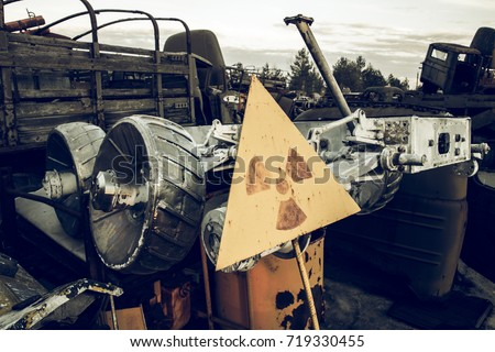 Chernobyl vehicle graveyard. Buryakovka. Exclusive capture of ex Soviet Lunokhod. Chernobyl accident. Chernobyl exclusion zone. Zone of high radioactivity.  Chernobyl Nuclear Power Plant near Pripyat. #719330455