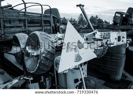 Chernobyl vehicle graveyard. Buryakovka. Exclusive capture of ex Soviet Lunokhod. Chernobyl accident. Chernobyl exclusion zone. Zone of high radioactivity.  Chernobyl Nuclear Power Plant near Pripyat. #719330476