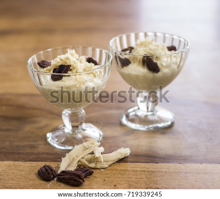 Halwa mousse with sugared pecans #719339245