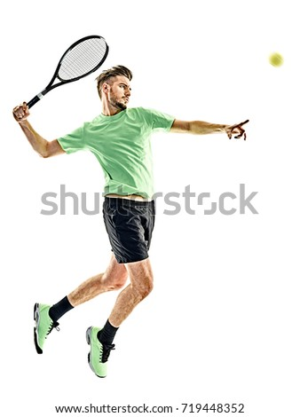 one caucasian  man playing tennis player isolated on white background #719448352