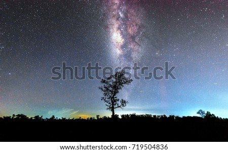 milky way and star on dark background.with grain and select white balance. #719504836