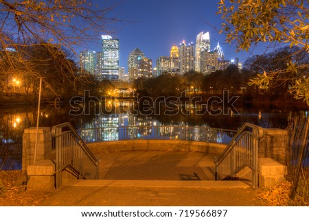 View of Midtown Atlanta from the Skyline Picture Point in Piedmont Park at dusk, USA