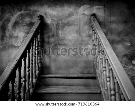 Dark Haunt Worn Stairs with Stalemate / Space for Text / Scary and Mysterious Concept for Halloween Background Theme Royalty-Free Stock Photo #719610364