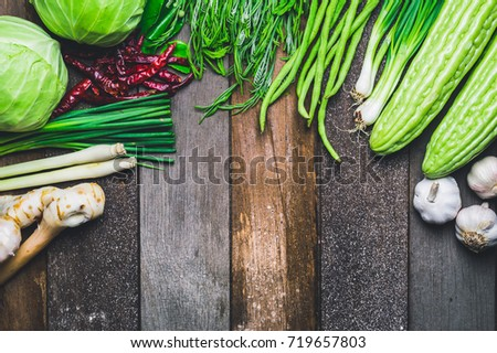 Vegetables Fresh Vegetables Colorful Background Picture Studio for Health Including fresh vegetables together, Asian on old wooden floor