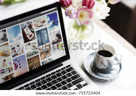 Laptop Notebook Showing Photo Gallery Screen