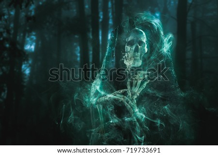 High contrast image of a scary ghost in the woods Royalty-Free Stock Photo #719733691