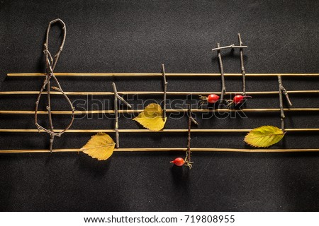 Musical notes conception. Wooden musical notes and leaves. #719808955